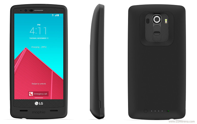 A Mophie Juice pack for the LG G4 adds 3,450mAh of extra battery