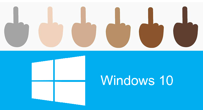 Microsoft goes bold with middle finger emoji in Windows 10