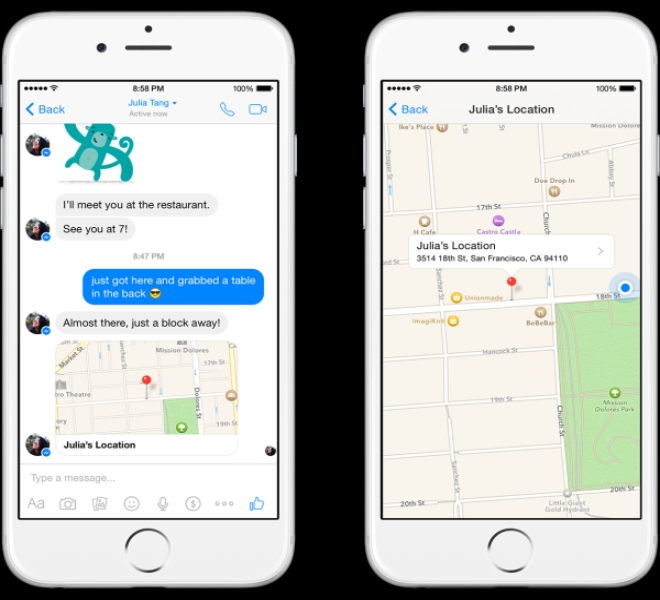 Facebook Messenger update brings the ability to send locations as messages