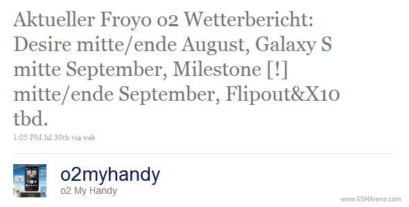 Motorola MILESTONE Froyo update