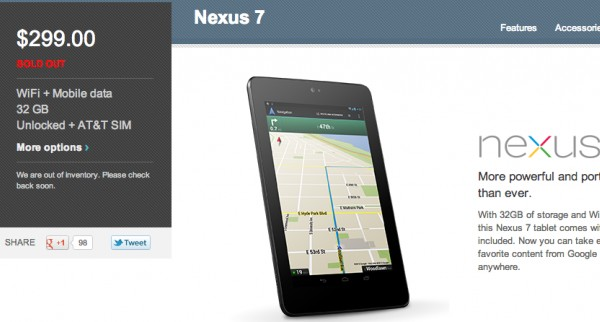 Nexus 7 with HSPA+ sells out on Google Play as well ...