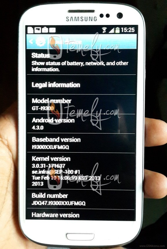 development of the 4.3.0 update is also underway for the Galaxy S4 ...