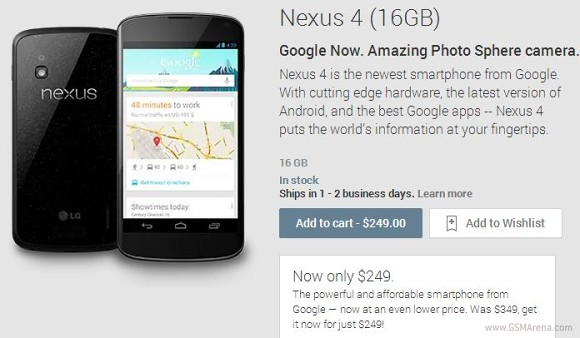 Google gives the Nexus 4 a $100 price cut in the United States