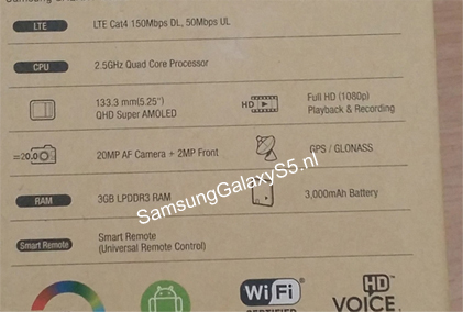 gsmarena 001 - Alleged photo of the Samsung Galaxy S5 box reveals specs