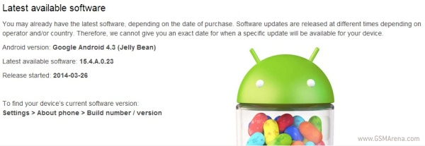 jelly bean 4.3 update for sony xperia m