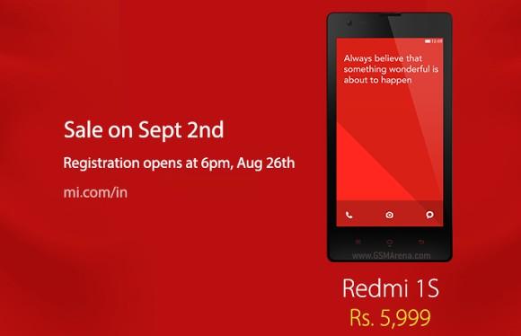 gsmarena 001 Xiaomi Redmi 1S on sale in India on September 2