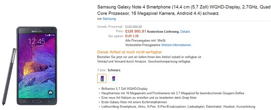Samsung Galaxy Note 4 and Note Edge German pre-orders launch