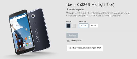 gsmarena 001 Nexus 6 pre orders confirmed to start on October 29