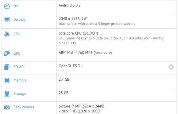 9.7-inch Samsung Galaxy Tab S2 has specs revealed ...