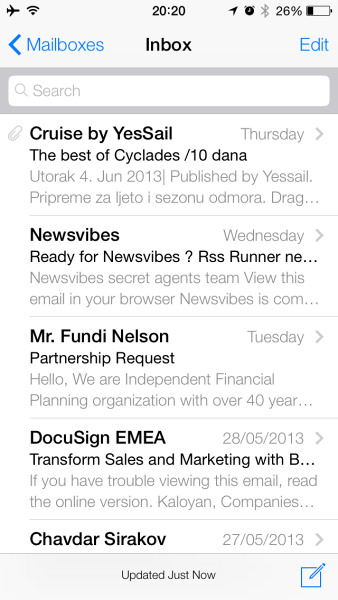 "Application ""Mail"" in iOS 7"