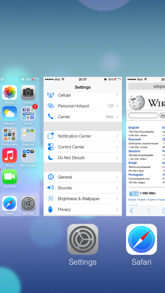 Multitasking in iOS 7