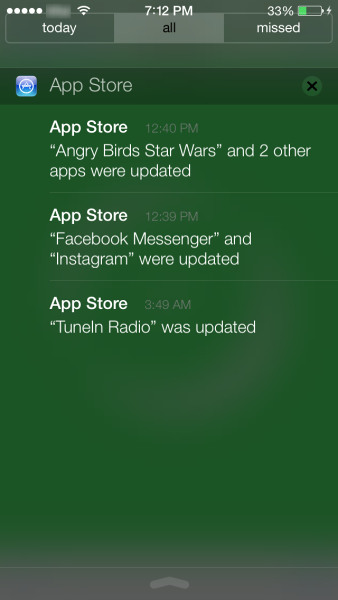 """Shutter"" of notifications in iOS 7"