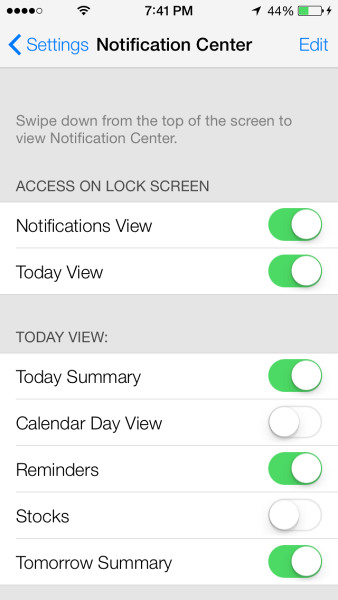 Settings control center in iOS