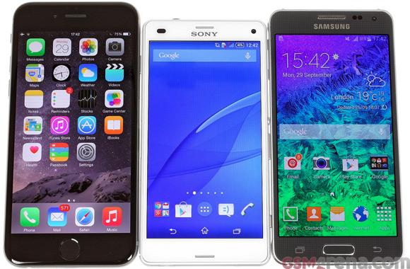 Kết quả hình ảnh cho iPhone 6 vs. Galaxy Alpha vs. Xperia Z3 Compact