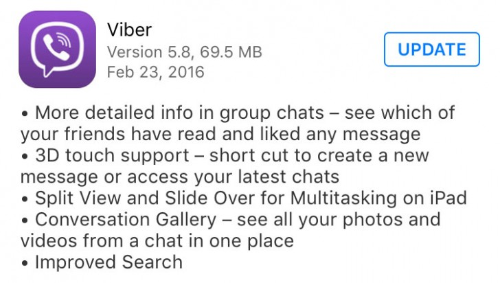 Viber 5 8 update for iOS, 3D Touch and iPad Split View