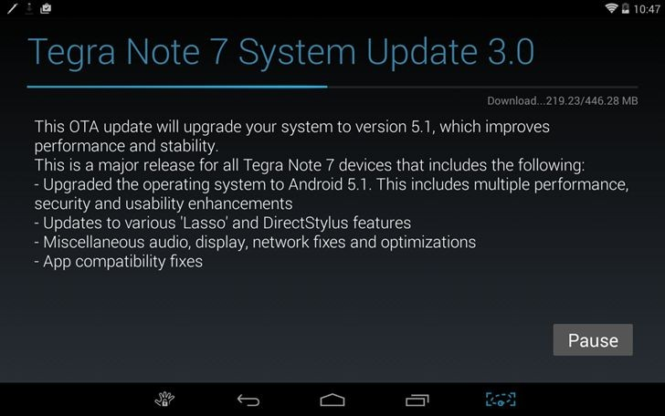 Android 5 1 update for the Nvidia Tegra Note 7 is now out