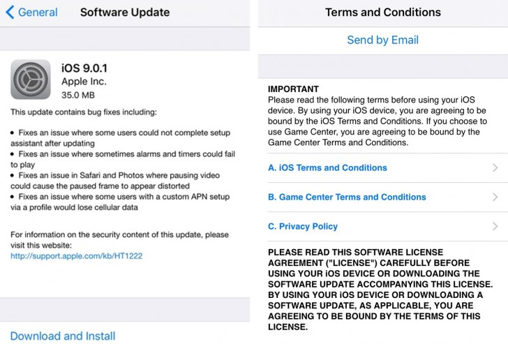 iOS 9 0 1 is already out to fix the bugs in iOS 9 - GSMArena