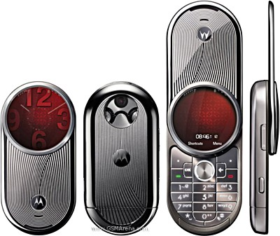 first motorola phone. although it featured a circular display and stainless steel shell, what really differentiated from other motorola phones was the 180-degree rotating first phone