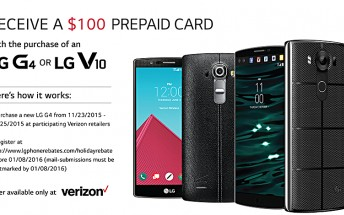 LG is offering $100 rebate on purchase of Verizon G4 and V10