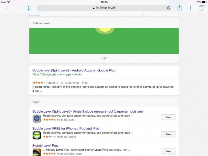 Google 'bubble level' to get an instant spirit level on your phone