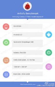 Samsung Galaxy S7 specs as detected by AnTuTu