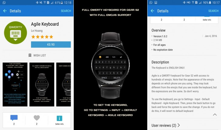 The Samsung Gear S2 now has a QWERTY keyboard and a message center