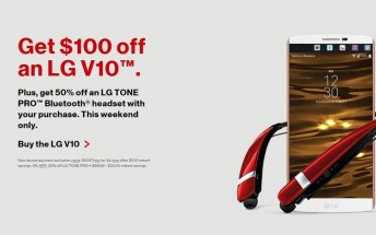 Verizon is giving you 50% off the LG Tone Pro Bluetooth headset if you buy a V10 smartphone