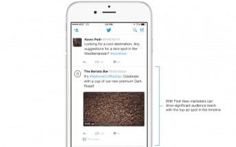 Twitter's First View lets advertisers reserve a top spot in your timeline for 24 hours