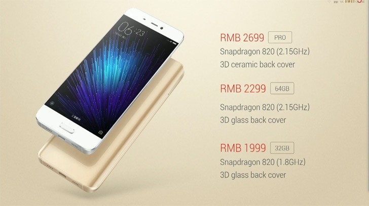 Xiaomi Mi 5 Prices Start At 300 Will Be Available On