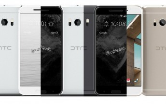 HTC 10 images show additional color options, including white front