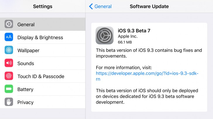 iOS 9 3 beta 7 now available to developers and public beta