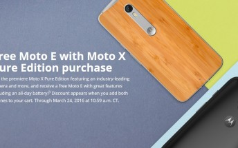 Get a free Moto E with Moto X Pure Edition purchase