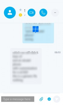 Skype UWP app on mobile