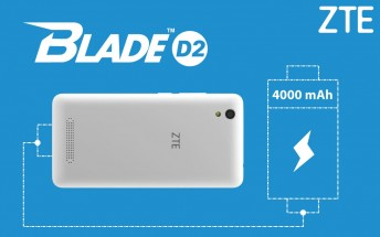 ZTE Blade D2 is a new 4000 mAh budget offer for Thailand and Vietnam