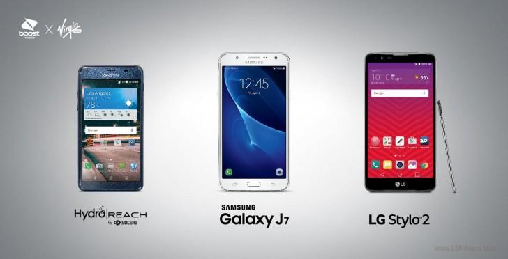 Samsung Galaxy J7, LG Stylo 2, and Kyocera Hydro Reach