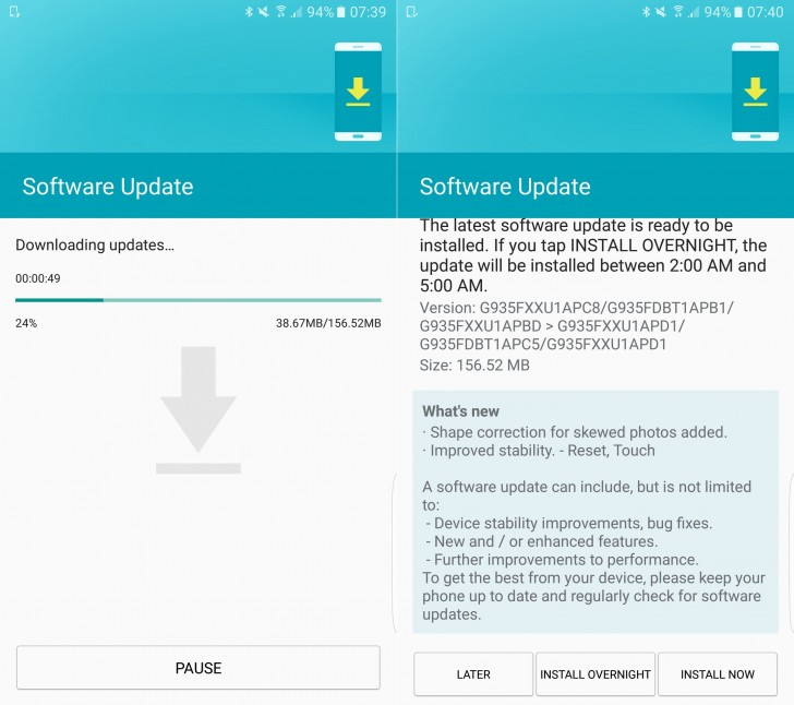 Samsung Galaxy S7 and S7 edge software update improves touch