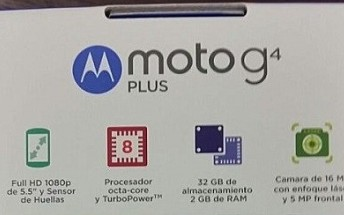 Moto G4 Plus retail box leak confirms octa core CPU, 5.5-inch display