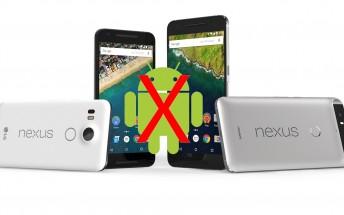 Google posts details showing when Nexus phones will stop receiving updates