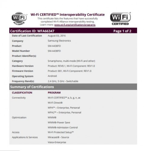 Wi-Fi certification of the upcoming Samsung Galaxy A4