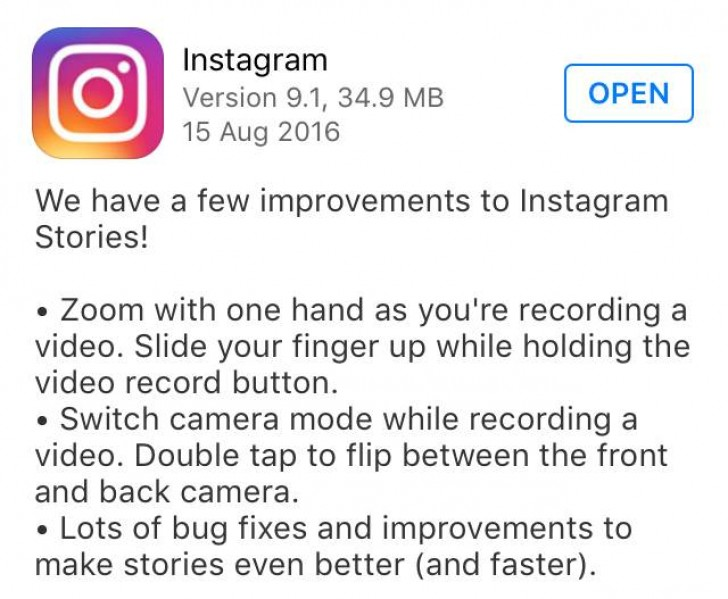 Instagram adds slide to zoom, double-tap to switch camera in video