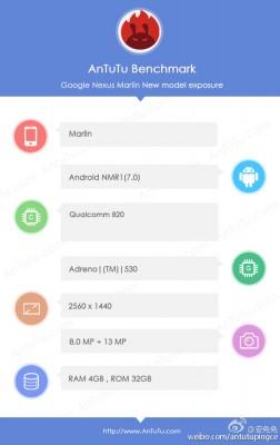 Google Nexus 'Marlin' specs by AnTuTu