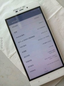 Xiaomi Redmi 4: About screen shows 2.0GHz octa-core CPU