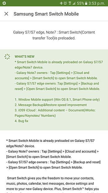 Samsung's Smart Switch app now lets you transfer data from