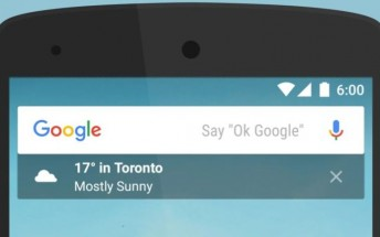 Google app for Android adds a small transparent widget under the search bar