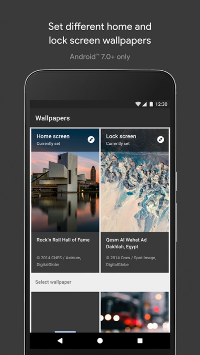 You can find a large variety of wallpapers on any of these categories, and you can also set a category to display a new wallpaper every day.
