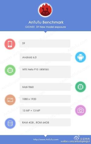 AnTuTu screenshot from Gionee S9