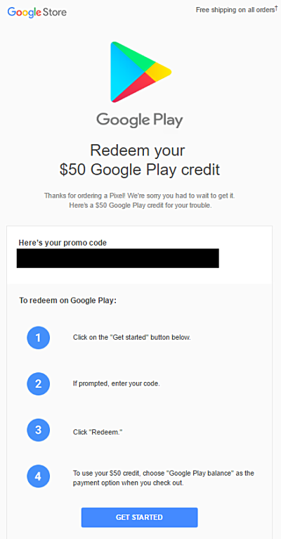 redeem your code google play store free