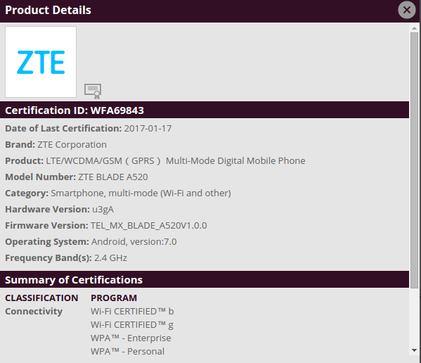 ZTE Blade A520 receives WiFi certification, support page up as well