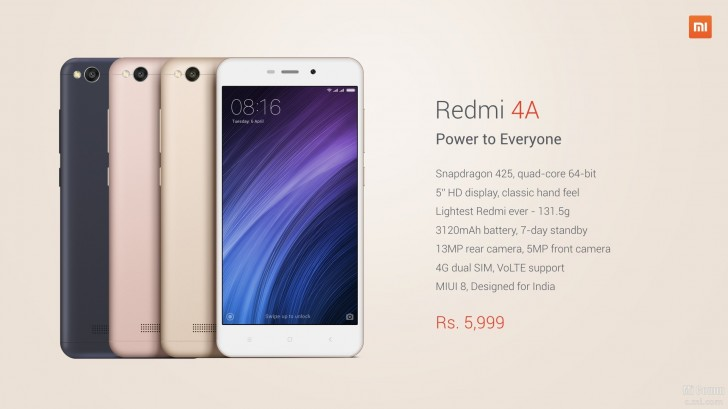 xiaomi launches redmi 4a in india   gsmarena   news