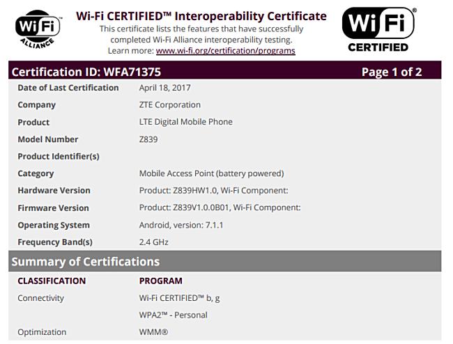 Mysterious ZTE Z839 gets WiFi certified - GSMArena com news